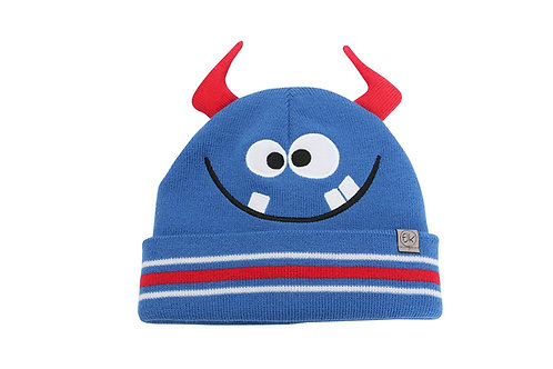 red & blue knitted toque with pompom & monster face stitched onto front, cuffed brim folded back