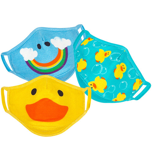 3 kids masks-yellow duck face-blue smiling rainbow-turquoise yellow rubber duckies
