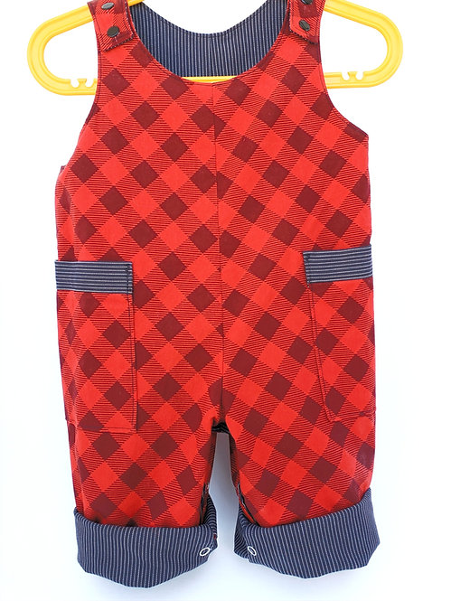 Handmade Red / Denim Reversible Overalls with red-checkered side out-2 pockets, turned up cuffs