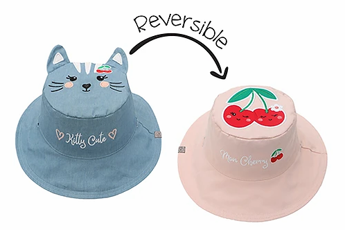 Reversible child's sun hat blue with embroidered cat one side, pale pink & red embroidered cherries the other