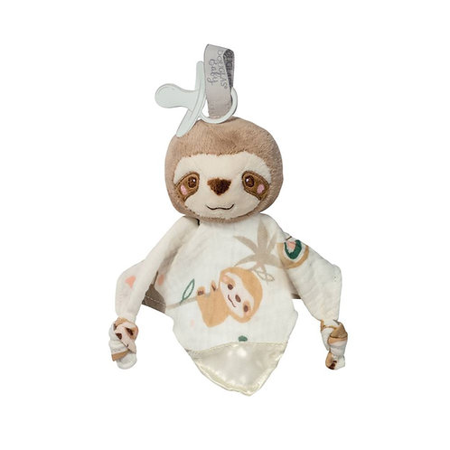 Brown & white cloth blanket toy for babies with stuffed sloth head