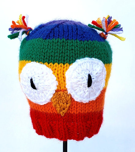 Rainbow striped Knit Infant Hat with big white Owl eyes-yellow beak and ear-like tufts of wool on top