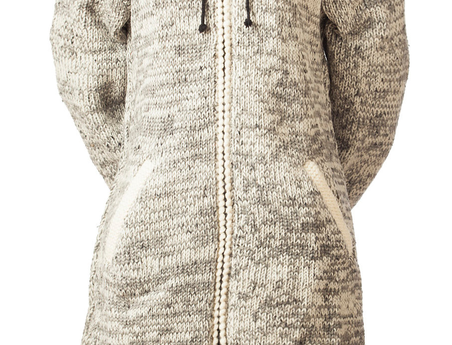 Cabin Long Cardigan light gray and white knitted wool with zipper front, drawstring hood and 2 side pockets