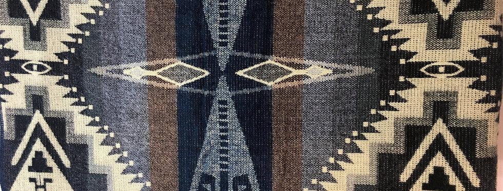 Navy, brown & gray brushed acrylic blanket, triangular patterns