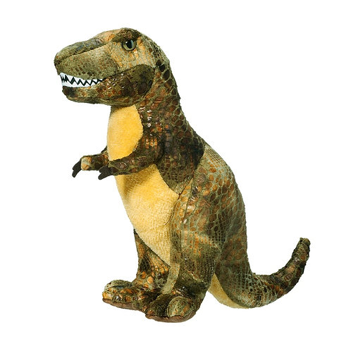 Green & yellow standing T-rex dinosaur stuffed toy with felt teeth