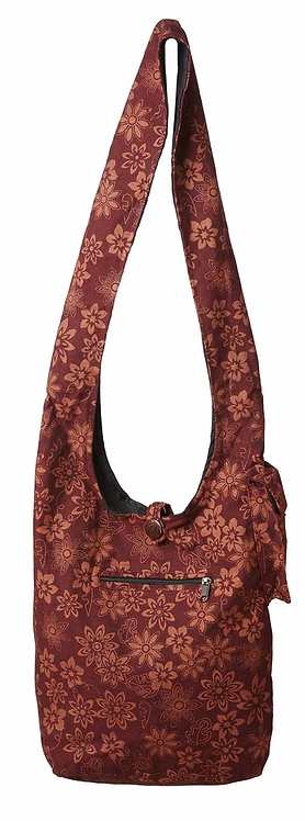 Full view of Ark Fair Trade Lotsa Flowers cotton bag with wide cotton shoulder strap-burgundy with rust flowers