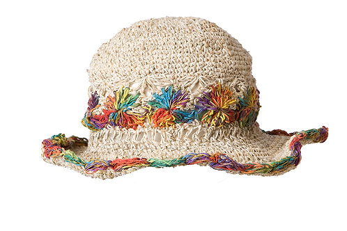 Hemp Cotton Wire Rim Hat - Rainbow Stripe