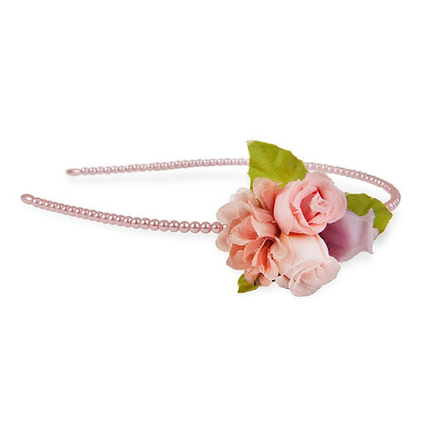 pearl covered headband accented with pink, purple & white roses