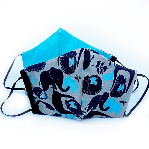 Both sides of Reversible & Reusable Protective Mask-black jungle animals on teal and gray one side and solid teal on reverse