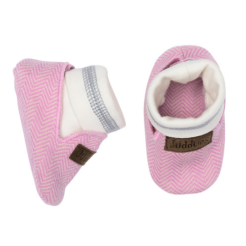 Top view of pink herringbone baby slippers with white band & gray stripe around ankle