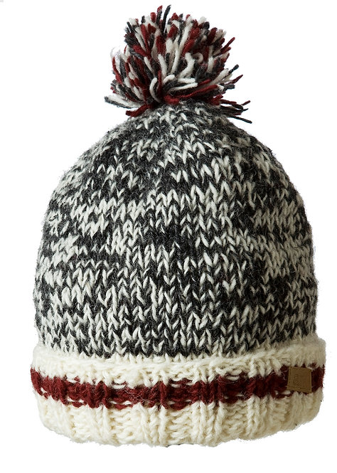 charcoal-white blend knit wool toque-style hat with red & white stripe around brim & pompom