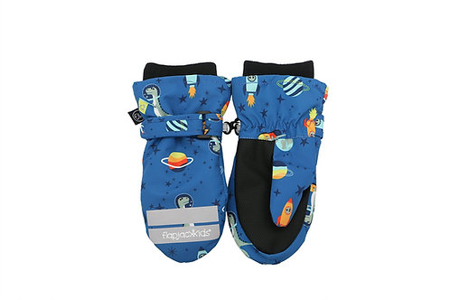 Pair of blue & black water repellent mitts with dinosaur print