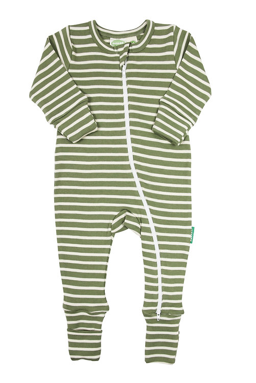 one piece baby sleeper olive green with horizontal white stripes-zipper from neck to ankle of 1 leg