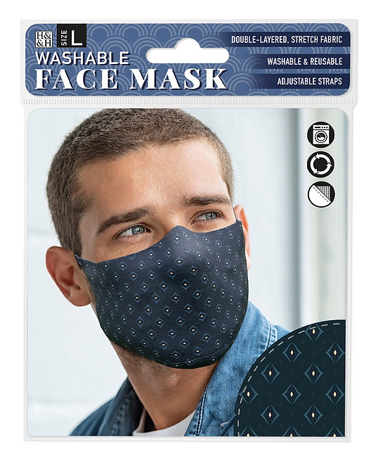 Packaging showing model wearing dark navy mask with small blue diamond shapes & tiny yellow diamonds within them