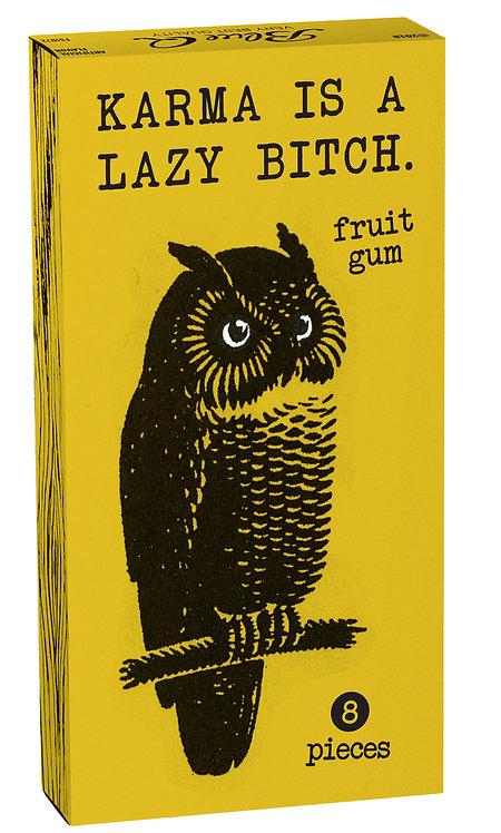 Blue K Karma Gum box shows owl, Box reads: Lazy Bitch