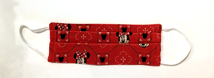 Small pleated protective mask Minnie Mouse print on red background-white elastic ear loops, flat