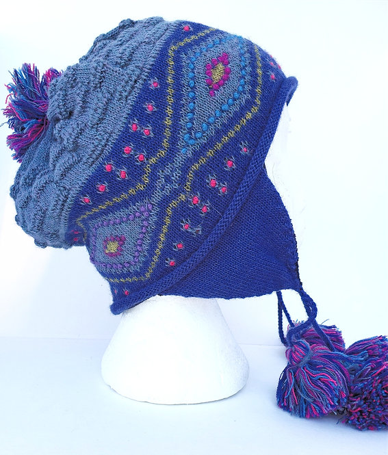 Peruvian Link Alpaca Hat, Diamond Dusk Chullo