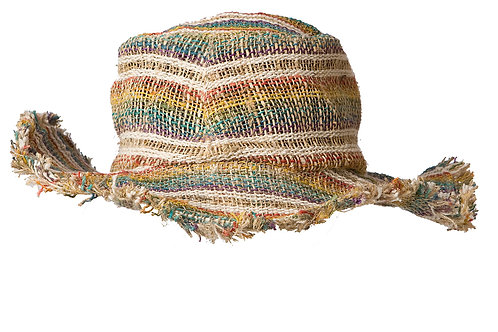 Ark Fair Trade Hemp Wire Rim Fringe Hat - Stripes of soft purple, teal, yellow orange and natural colours