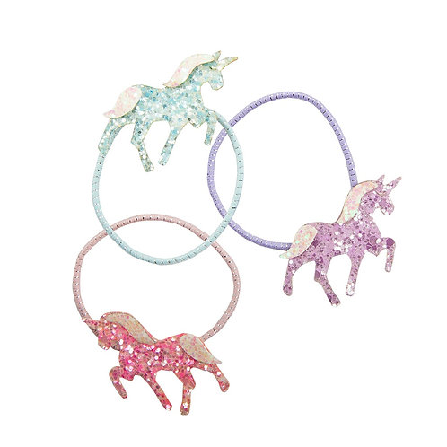 3 hair elastics with sparkly unicorns