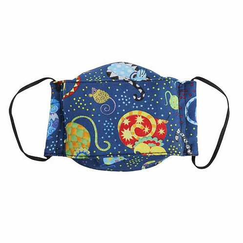 kids mask-dark blue space with colorful cats & mice