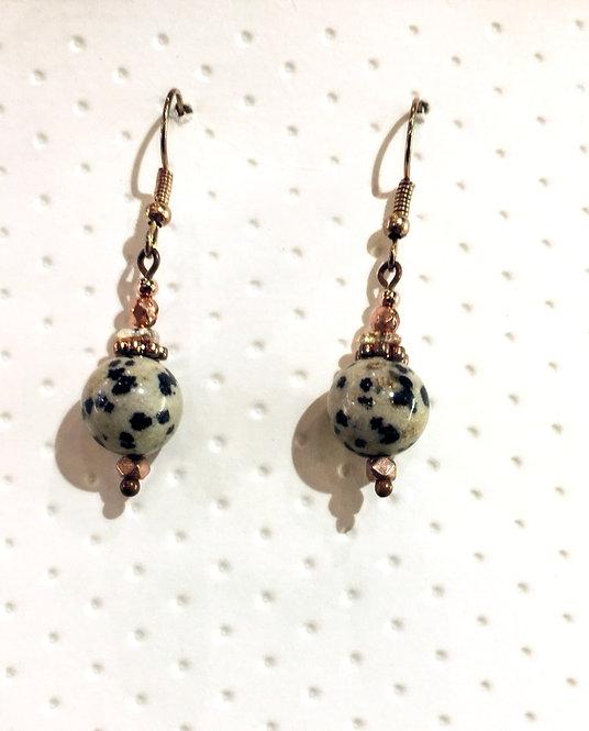 Rose Gold earrings with 10mm dalmatian jasper stones