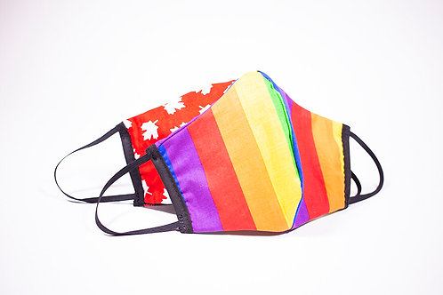 2 protective masks-rainbow stripes one side-white maple leaves on red background on the other