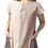 Model wearing tunic dress short sleeves round neck A-line 2 pockets 3 panels of graduated shades of soft pink