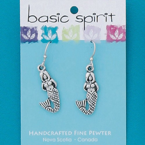 Pewter dangle earrings - Mermaid shape
