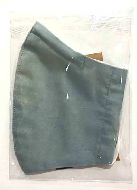 Cotton protective mask in plastic sleeve plain denim left view