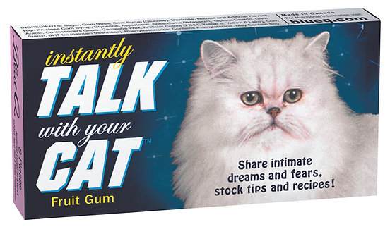 Blue box with white cat, text 'Instantly talk with your cat gum'