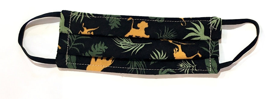 tiny black cotton mask laid flat with gold & green jungle print