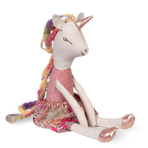 Great Pretenders Lulu the Unicorn Doll with shiny pink horn and hooves, flowery pink dress and multi-coloured twisted yarn ma