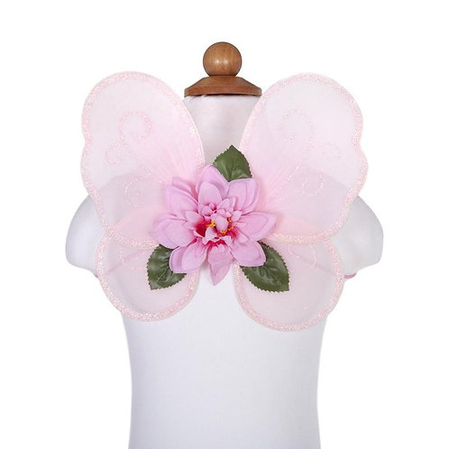 Pink mini wings set with pink flowers and green leaves on a mannequin form