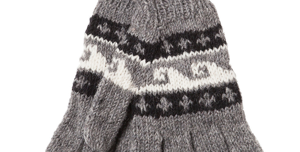 Knit wool gloves-gray with 2 rows of black with white fleur-de-lis either side of a row of white with gray wave pattern