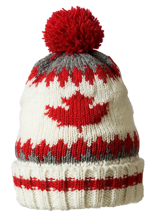 Gray, red & white wool knit toque-style hat with red pompom & maple leaf on front