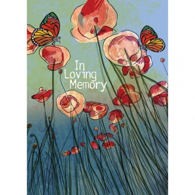 Tree-free Greetings Poppies Sympathy Card with tall red poppies on blue/green background and monarch butterflies on 2 poppies