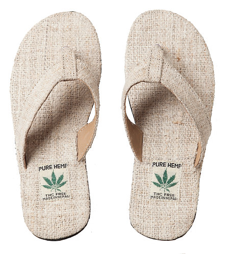 Ark Fair Trade Hemp Unisex Sandals flip-flop style wide strap, natural colour