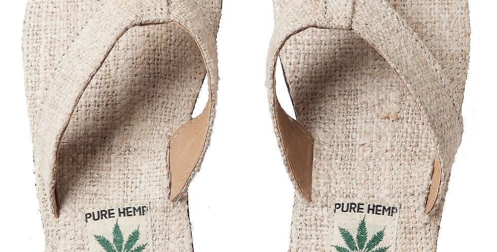 Ark Fair Trade Hemp Unisex Sandals flip-flop style wide strap, natural colour
