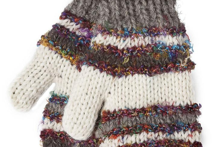 Knit wool mitts white, brown & gray stripes alternating with multi-colored silk stripes