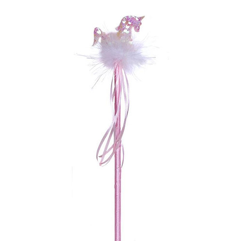 Sparkly sequinned pink & marabou unicorn sits atop a beribboned wand