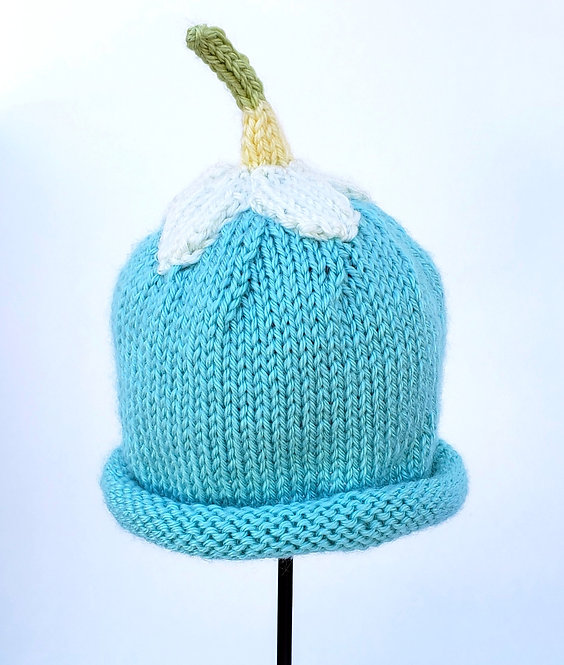 Light turquoise Hand Knit Infant Hat with white Flower & green stem-like top