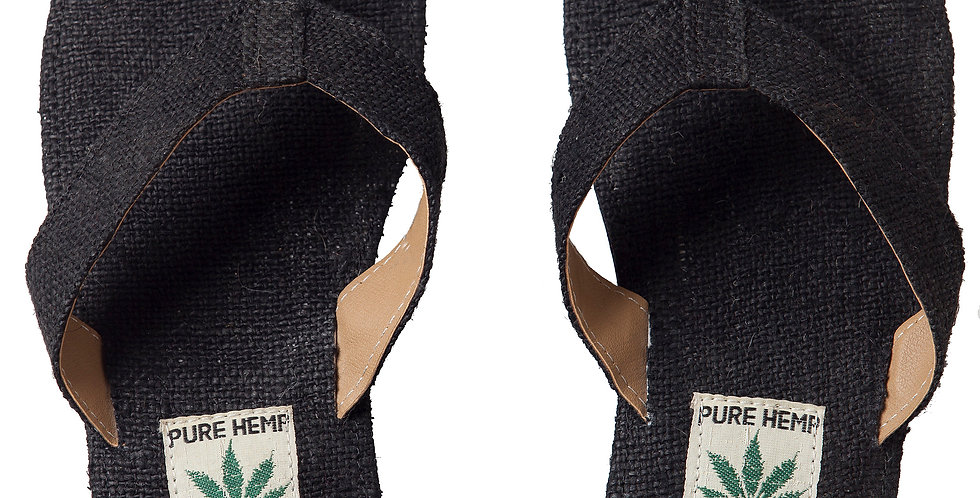 Ark Fair Trade Hemp Unisex Sandals flip-flop style wide strap, black