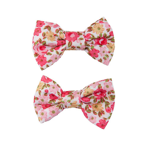 2 Pink floral print fabric bow hair clips