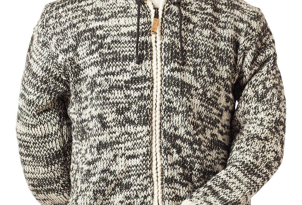 Front view of charcoal & white blend hand knitted wool cardigan with hood, front zipper, 2 pockets and red stripe at cuffs
