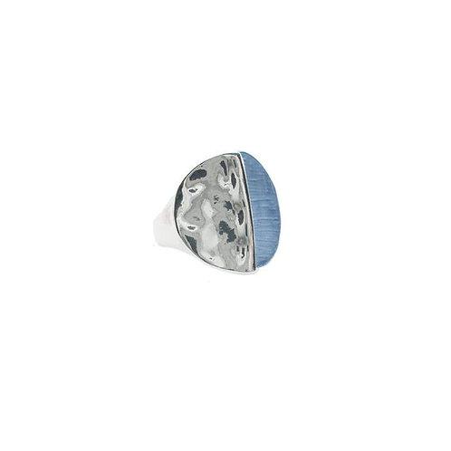 Round hammered disc ring - half silver half blue