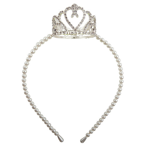 Pretty Petite Crown Headband strung with white pearls & full rhinestone crown centered on to