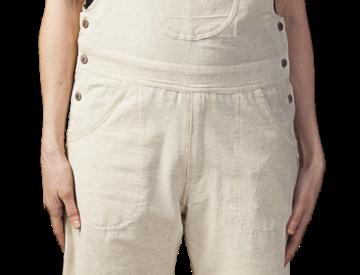 Female modelling natural white overalls-bib-pocket-2 side inset pockets