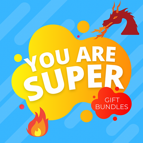 Yellow cloud on blue background with red fire-breathing dragon and flames in corner, text reads 'You Are Super Gift Bundles'