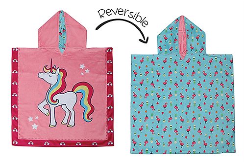 Flapjack Kids Reversible Kids Cover-Up - Unicorn / Tropical both sides