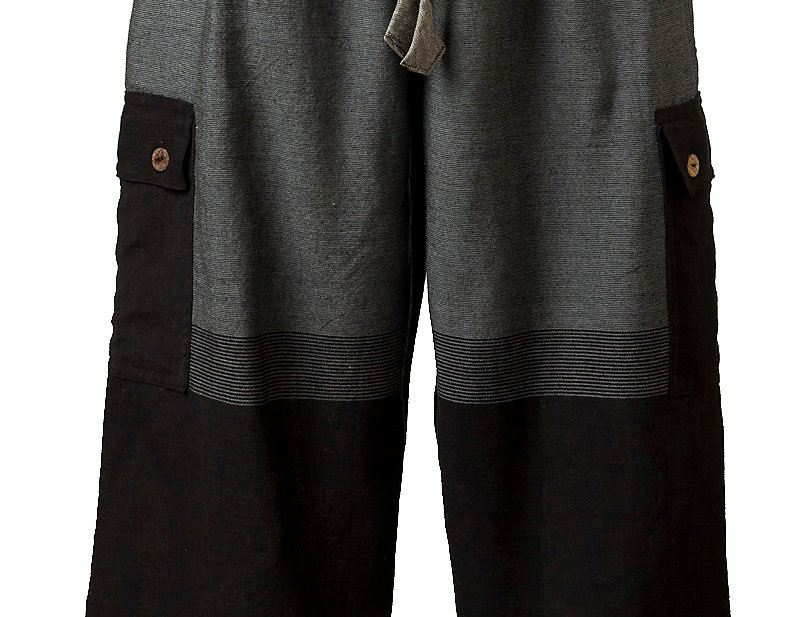 Fair trade easy fit cotton pant elastic waist & drawstring 2 outer pockets button accent large blocks of gray charcoal black